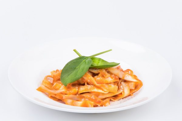 Pasta with Tomato Sauce and Grated Cheese