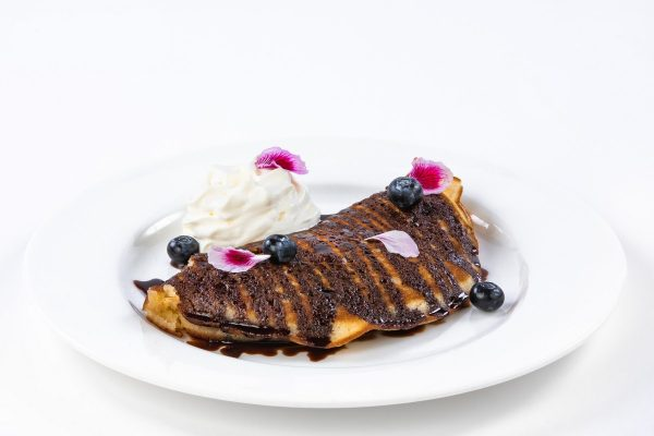 Blueberry Pancake with Chocolate, Whipped Cream and Fruits