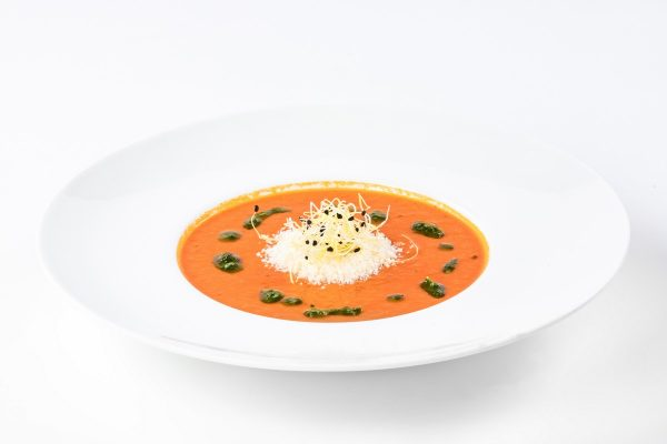 Tomato Soup with Parmesan and Basil Pesto